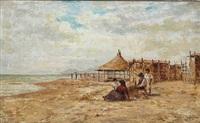 beach scene from italy by heinrich rasch