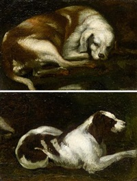 study of a resting hound (+ another, similar; pair) by sinibaldo scorza