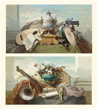 a lute, a tambourine, a panpipe, a clarinet, a drum, a score of music... (+ a violin, bagpipes, a drum, a score of music; pair) by godefroy