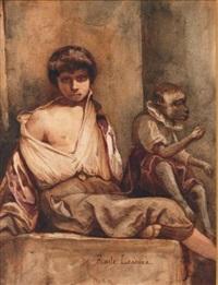 jeune garçon et singe by emile lessore
