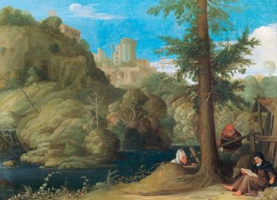 ein einsiedler mit zwei gefährten in einer bewaldeten flusslandschaft by johann hans konig