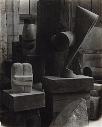 view of the studio, the sorceress, the kiss and the chief by constantin brancusi