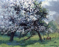 les pommiers au printemps by louis edouard garrido
