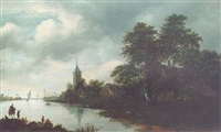 a river landscape with fishermen in a boat, a man on a horse conversing with a man on the river bank and a village beyond by gerrit van hees