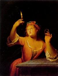 junge dame mit einem brennenden kerze und einem medaillon, allegorie des gesichts by gerard wigmana