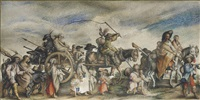 a procession of gypsies, after jacques callot (lieure 374) by french school (17)