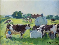 la traite des vaches by louis edouard garrido