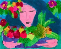 woman with flower 美女和花 by walasse ting