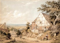 haslemere, surrey (+ landscape with a windmill; 2 works) by william henry stothard scott