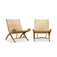 folding chairs armchairs (pair) by hans j. wegner