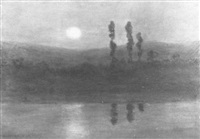 moonlit landscape with cedar trees and reflected moonbeams by robertson k. mygatt