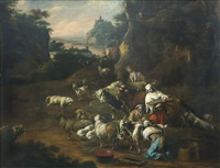 travelers with their livestock by philipp peter roos