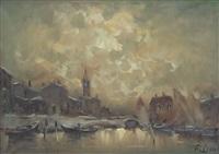 paesaggio con barche by ivan karpov