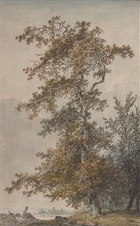 oriental assis au pied d'un grand arbre by jean-baptiste hilaire