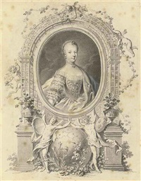 portrait of queen marie-antoinette in a fictive frame, surrounded by an arbor and with allegorical figures of germania and gallia united below, flanking the globe by johann esaias nilson