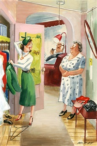 daughter speaks to mother after coming home from a party (illus. for esquire) by dorothy mckay