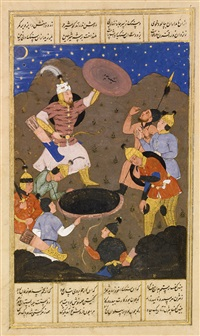 rustam saves bihzan from a well (from firdausi's shahnameh) by anonymous-asian