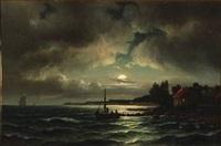 coastal scene in the moonlight by carl ludwig bille