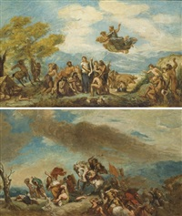 attila suivi de ses hordes barbares foule au pied l'italie et les arts (+ orphée vient policer les grecs encore sauvages et leur enseigner les arts de la paix; pair) by pierre andrieu