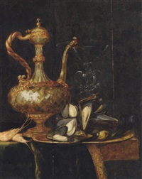 an ewer, a façon-de-venise wine glass, prawns and a plate of mussels on a partly covered table by simon luttichuys