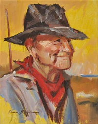 man in hat with neck scarf by duane bryers