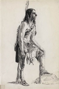 indian scout (+ young girl (study), verso) by violet oakley