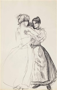 two women dancing in a cafe in the zeedijk district, amsterdam (recto); two men playing football (verso ) (pl. 10) by isaac israels
