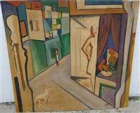 femme et chien dans un appartement by béla kádár
