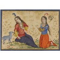 two maidens on a grassy bank, one identified as the virgin mary by muin musavvir