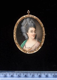 a lady wearing pink dress with white trim and a green robe draped across her left shoulder, her hair powdered and adorned with strands of pearls by samuel cotes