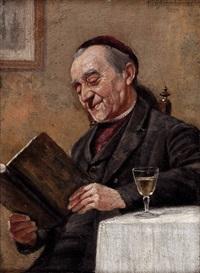 sitzender lesender geistlicher by karl aschenbrenner