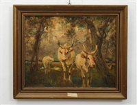 wooded landscape with oxen by luca postiglione