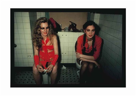cookie and millie in the girls room at the mudd club ny by nan goldin