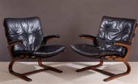 a pair of lounge armchairs by ingmar anton relling
