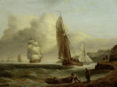 fishing and sailing boats off shore by thomas luny
