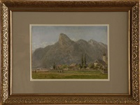 the koeffel and the church at oberammergau, bavarian alps by edward l. henry bavarian