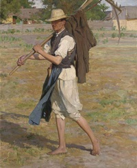 farmer returning home by laszlo hegedus