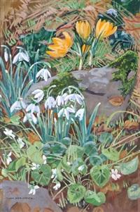 composition florale, les narcisses sauvages et les crocus by yvonne jean-haffen