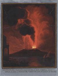 l'éruption du vésuve du 8 août, 1779, vue de santa lucia by alessandro d' anna