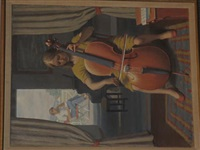 girl playing a cello by fermin rocker