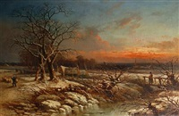 a sheep herder in a winter landscape by r.b. david