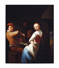 peasants merrymaking in a tavern: two works by gerrit lundens