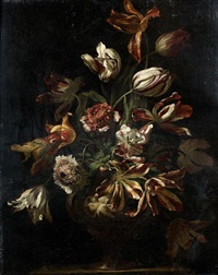 bouquet de fleur dans un vase sculpté by antoine monnoyer