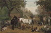 a rural farmyard by edward benjamin herberte