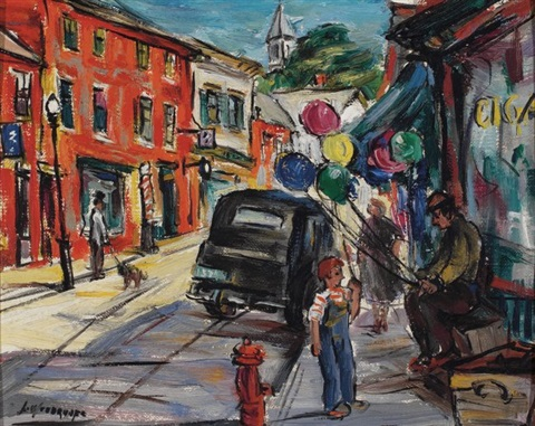 The Balloon Man, Main Street by Louise Woodroofe on artnet