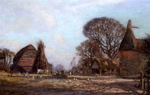 a kentish farmyard by thomas w armes