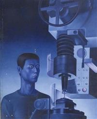 l'homme et la machine sur fond bleu by chen ying-teh