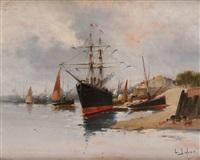 bateau à l'amarre by eugène galien-laloue