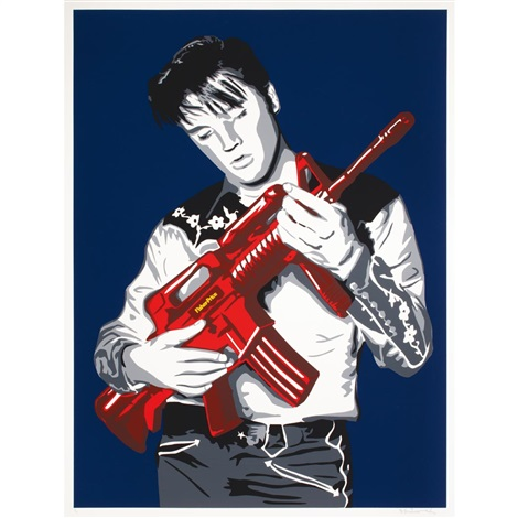 dont be cruel blue backgroundred gun edition by mr brainwash