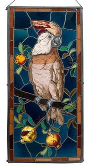 glas-bild (ein kakadu sitzt auf granatapfelzweigen) by ludwig grandy